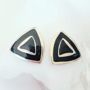 Black and Gold Triangle Clip On Earrings Vintage